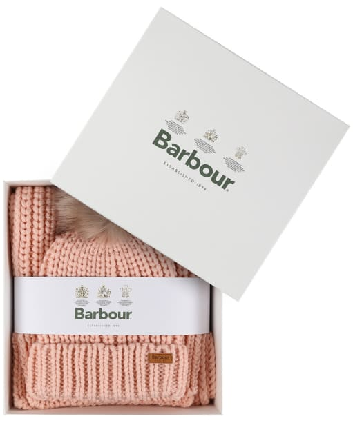Women's Barbour Saltburn Scarf and Beanie set - Pink