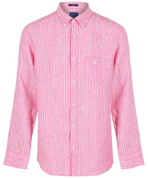 Men's GANT Regular Fit Stripe Linen Shirt - CABARET PINK