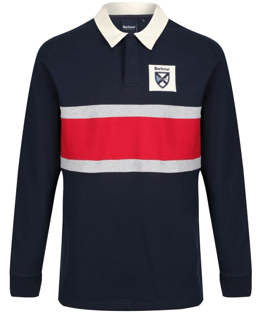 Men's Barbour Crest Contrast Panel Rugby Shirt - Navy