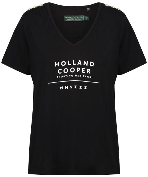 Women's Holland Cooper Serif Vee Tee - Black