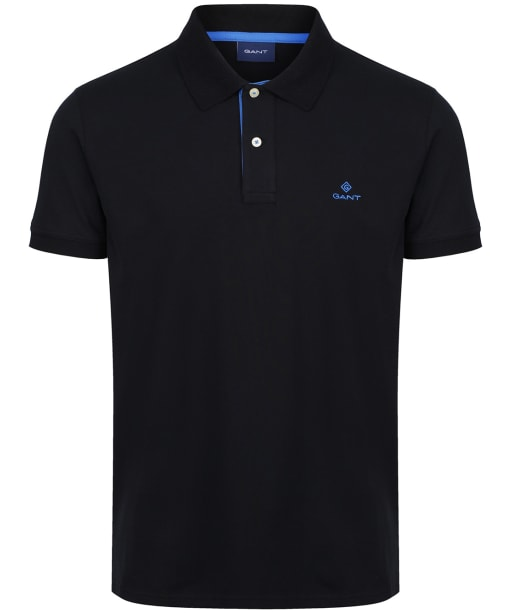 Men's GANT Contrast Collar Short Sleeve Rugger Shirt - Black