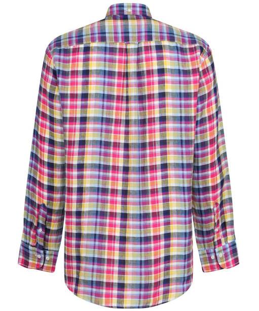 Men's GANT Regular Linen Madras Shirt - Pacific Blue