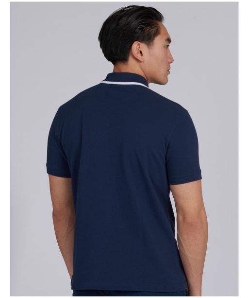 Men's Barbour International Block Stripe Polo Shirt - Dress Blue