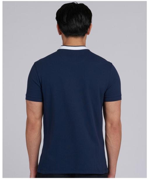 Men's Barbour International Tipped Sports Collar Polo Shirt - Dress Blue