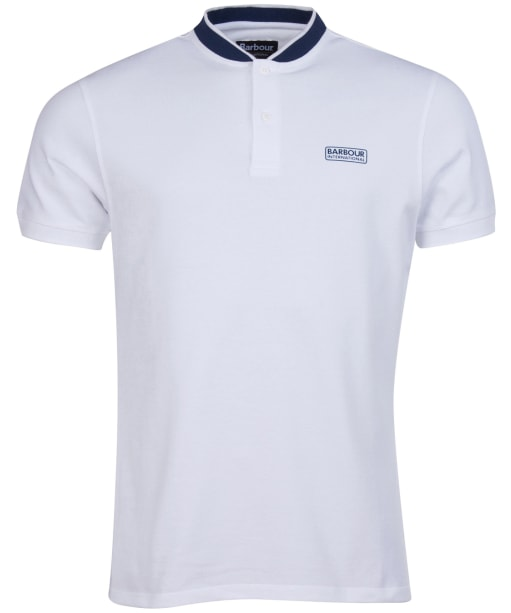 Men's Barbour International Tipped Sports Collar Polo Shirt - White