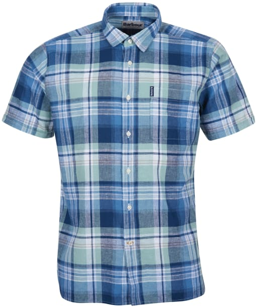 Men's Barbour Linen Mix 9 S/S Summer Shirt - Indigo Check