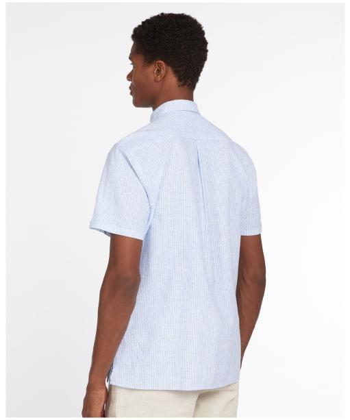 Men's Barbour Linen Mix 10 S/S Tailored Shirt - Blue Stripe