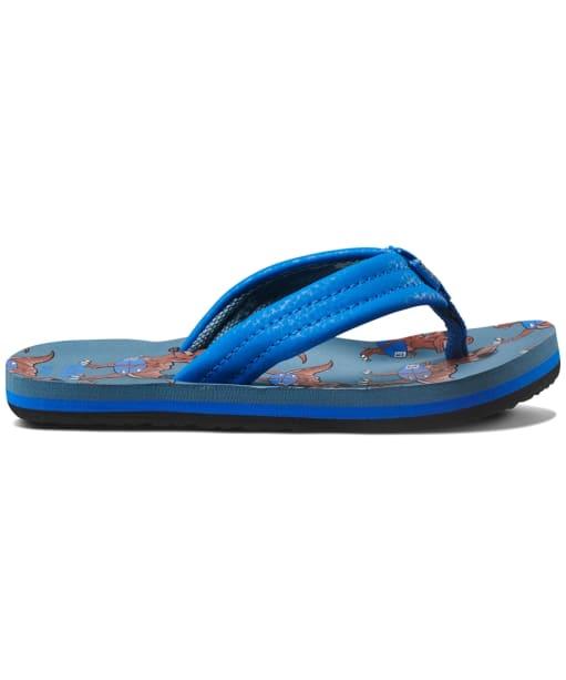 Boy's Reef Ahi Flip Flops - Kids - Blue T-Rex