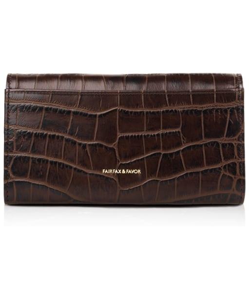 Women's Fairfax & Favor Grosvenor Leather Purse - Chocolate Croc Leather