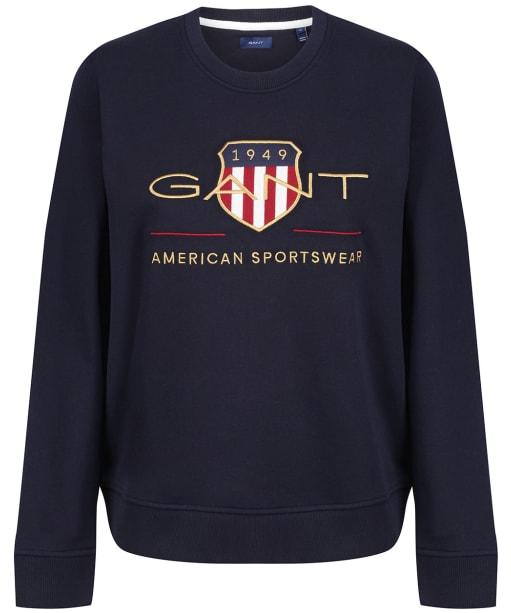 Women's Gant Archive Shield Crew Neck Sweatshirt - Evening Blue