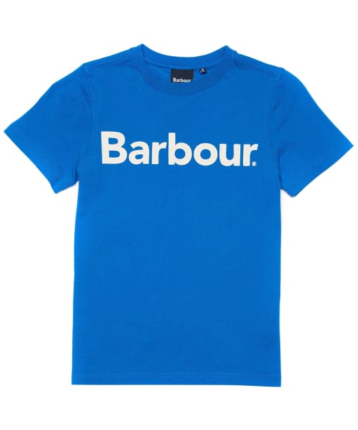 Boy's Barbour Logo Tee, 6-9yrs - Frost Blue