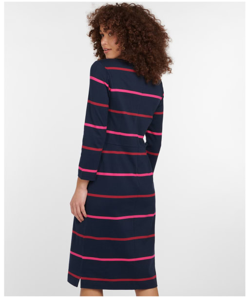 Women's Barbour Oyster Dress - NAVY/BERRY STRP