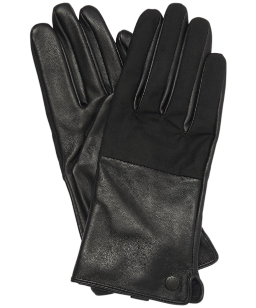 Women's Barbour Cora Wax Leather Gloves - Black