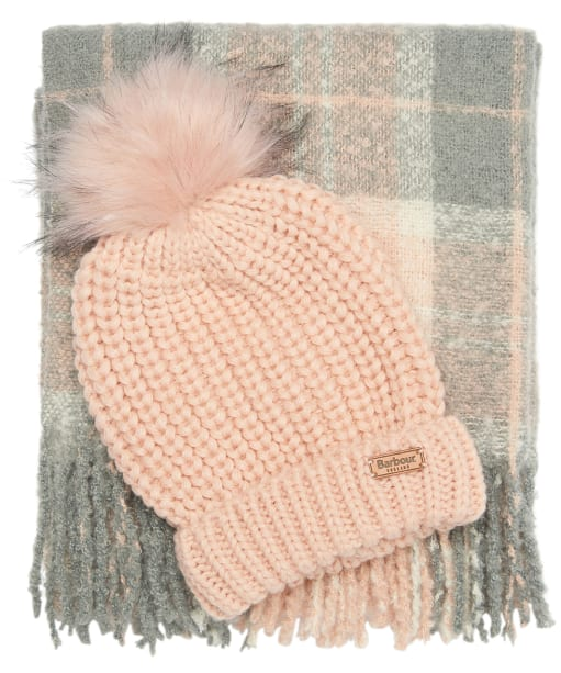 Women's Barbour Saltburn Beanie & Boucle Scarf Gift Set - Pink / Grey