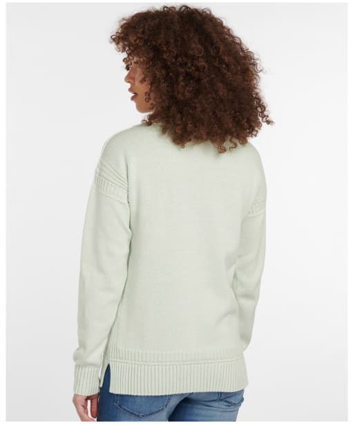 Women's Barbour Sailboat Knit Sweater - MINT/WHITE TWST