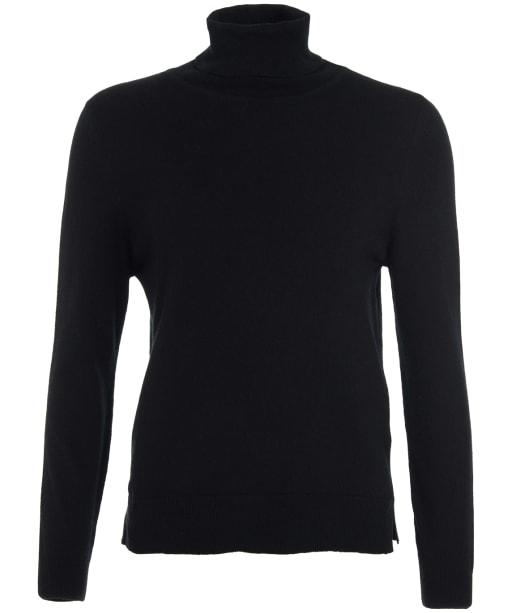 Women's Barbour Pendle Roll Collar Sweater - BLACK/HESSIAN