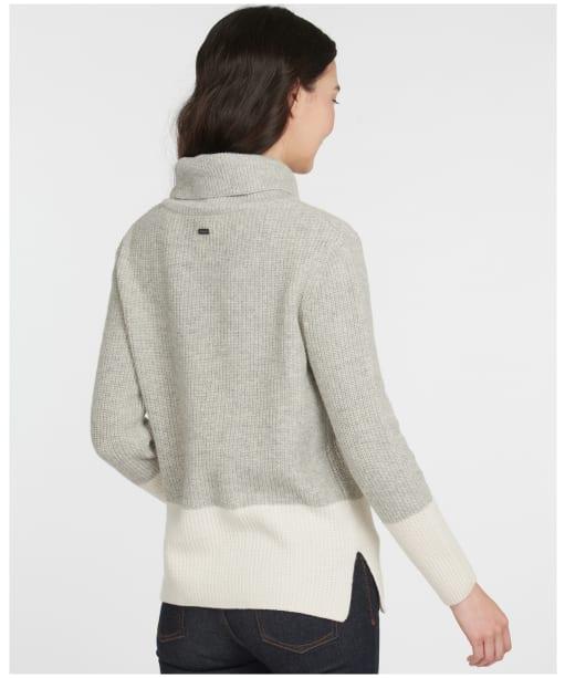 Women's Barbour Dipton Roll Collar Sweater - PALE GREY/CREAM