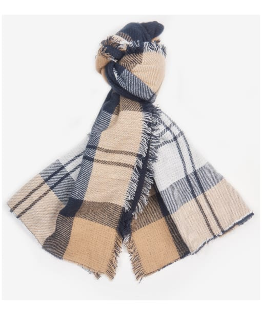 Women's Barbour Forth Reversible Tartan Wrap - Hessian / Navy
