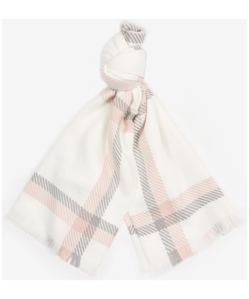 Women's Barbour Hedley Windowpane Scarf - Cloud / Pink