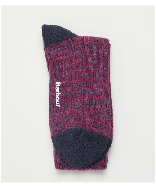 Women's Barbour Colour Twist Socks - Navy / Pink