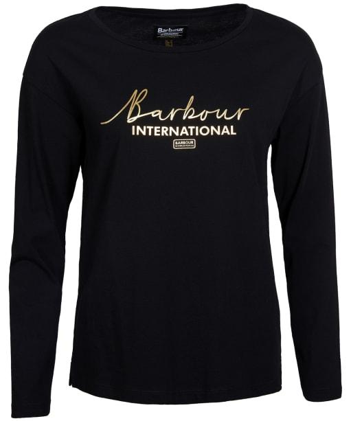Women's Barbour International Picard Long Sleeve Tee - Black