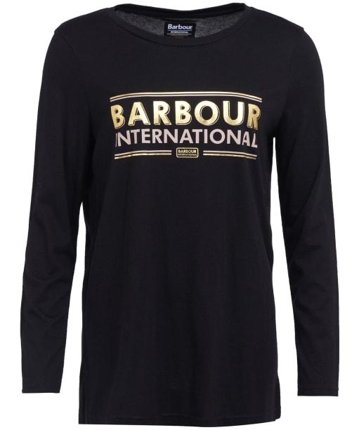 Women's Barbour International Piquet Long Sleeve Tee - Black