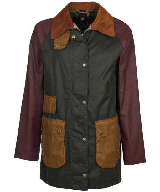 Women's Barbour Luss Waxed Jacket - Sage / Bordeaux / Sand