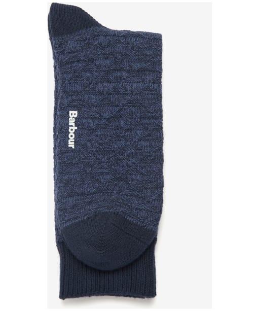 Men's Barbour Texture Twist Stripe Socks - Navy