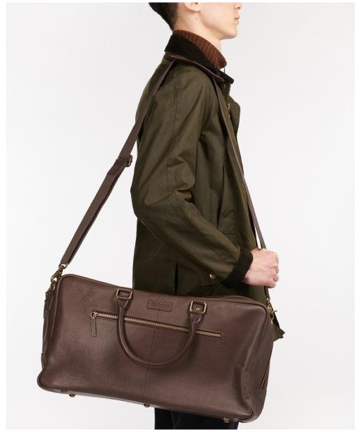 Barbour Highgate Leather Holdall - Dark Brown