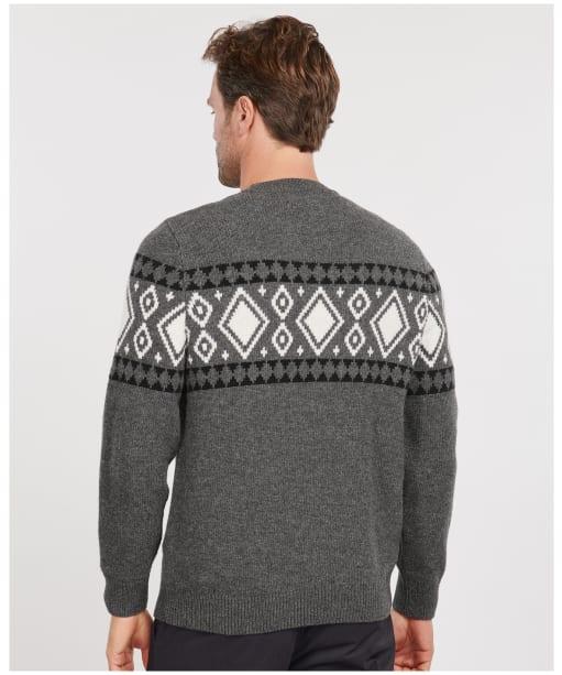 Men's Barbour Essential Diamond Knit Crew - Charcoal Marl