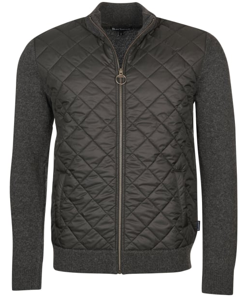 Men's Barbour Essential Diamond Quilted Zip Through - Charcoal