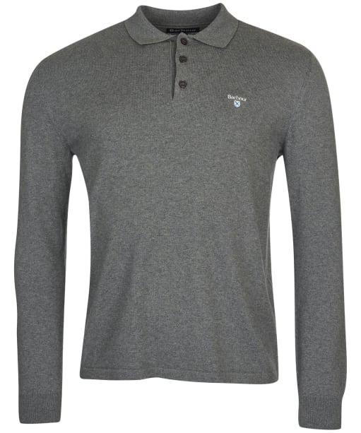 Men's Barbour Essential Cotton Cashmere L/S Polo Shirt - Grey Marl