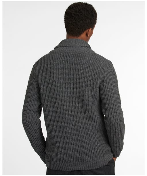 Men's Barbour Brodric Knitted Button Shawl - Charcoal Marl