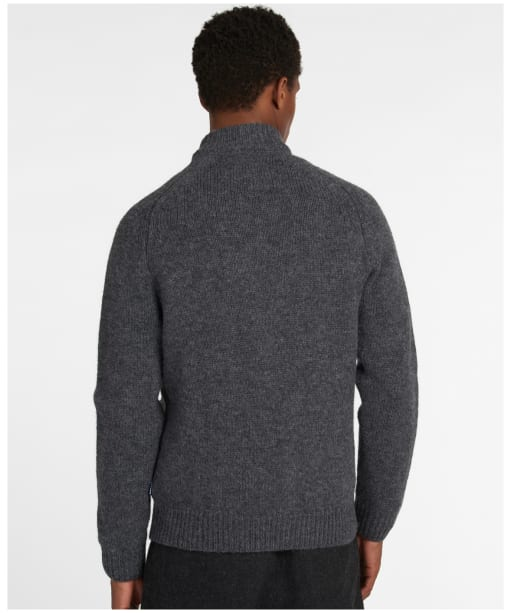 Men's Barbour Calder Knitted Zip Thru - Charcoal Marl