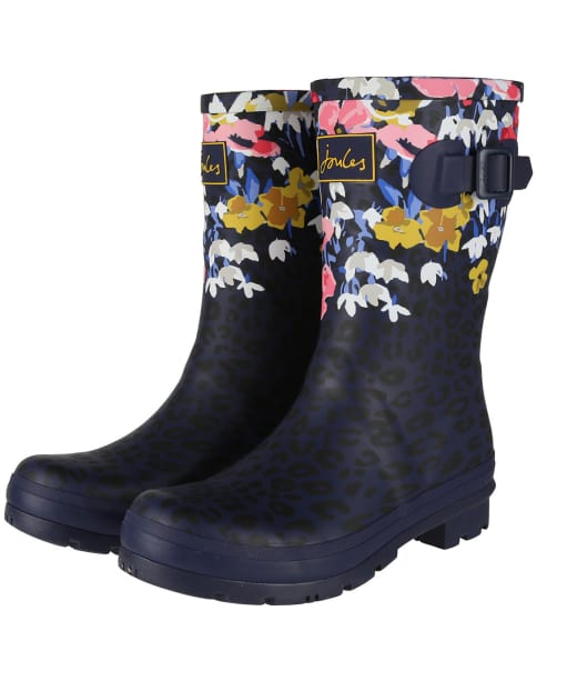Women's Joules Molly Mid Height Wellies - Navy Leopard Floral