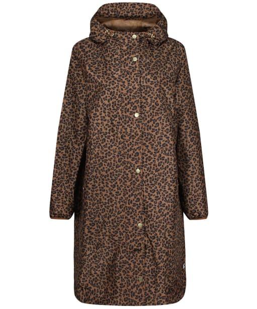 Women's Joules Waybridge Waterproof Packable Raincoat - Tan Leopard