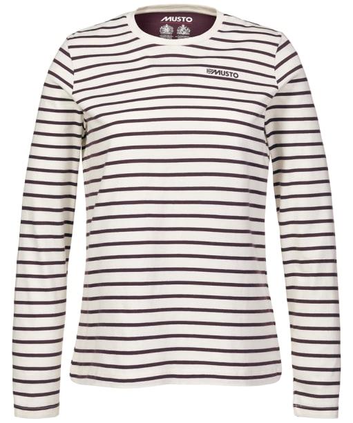 Women's Musto Mariana Stripe Long Sleeve Tee - Antique Sail White