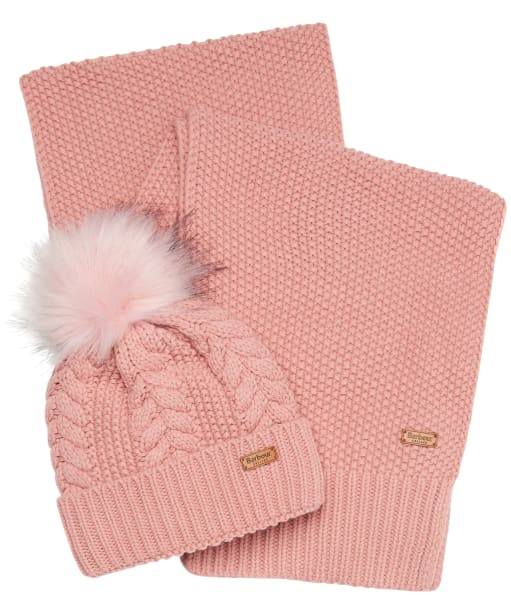 Women's Barbour Hartley Beanie & Scarf Gift Set - Blush Pink