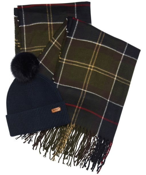 Women's Barbour Dover Beanie & Hailes Scarf Gift Set - Barbour Classic