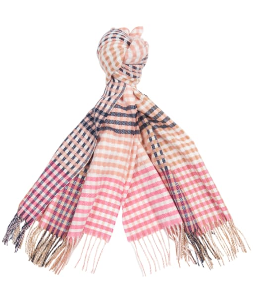 Women's Barbour Bryony Check Scarf - Pink / Hessian