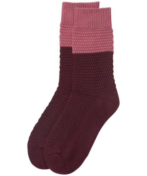 Women's Barbour Colour Block Texture Socks - Burgundy