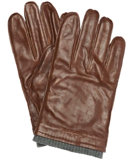 Men's Barbour Braden Burnished Leather Gloves - Brown