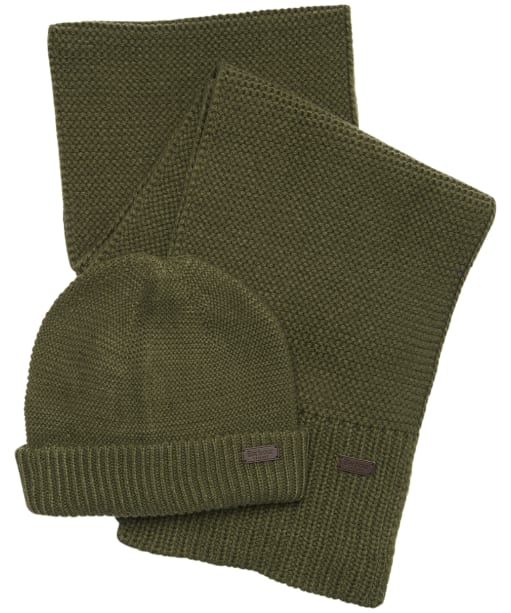 Men's Barbour Wingate Beanie & Scarf Gift Set - Olive