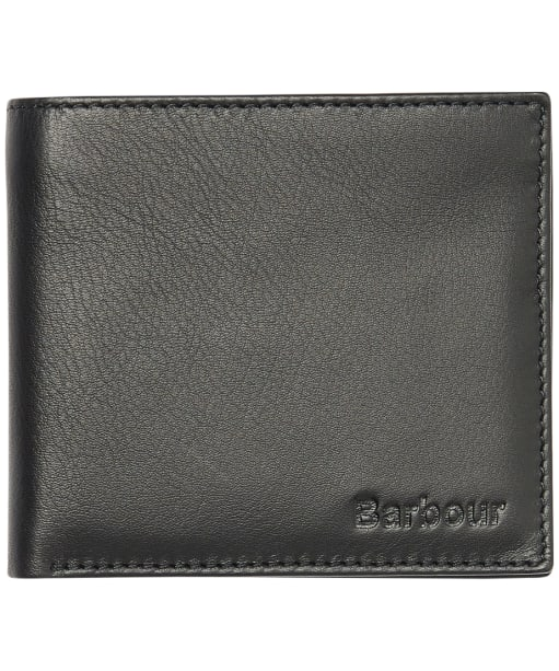Men's Barbour Leather Billfold Wallet - Black / Winter Red