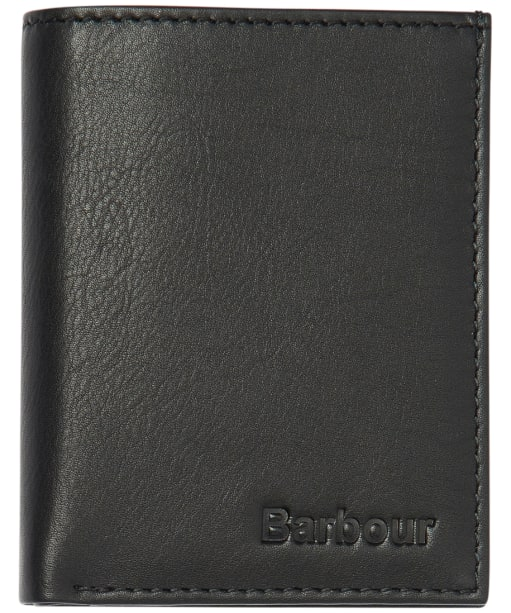 Men's Barbour Colwell Small Leather Wallet - Black / Winter Red