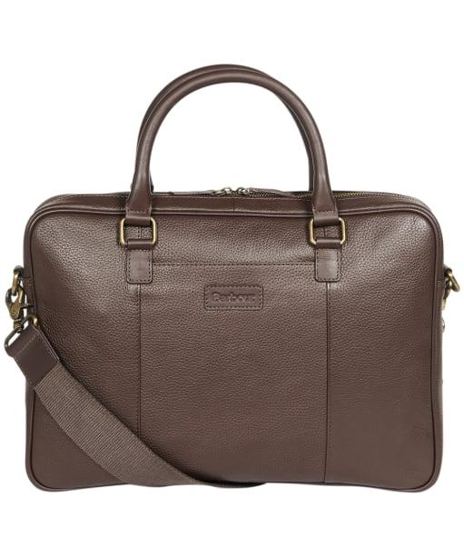 Barbour Highgate Leather Laptop Bag - Dark Brown