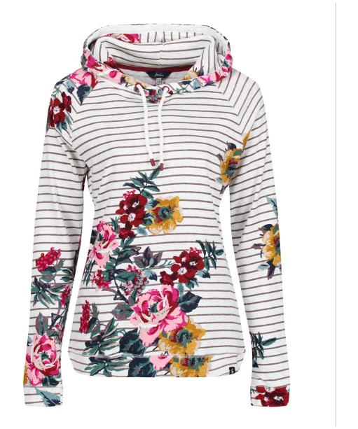 Women's Joules Marlston Print Hooded Sweatshirt - Grey Floral Stripe