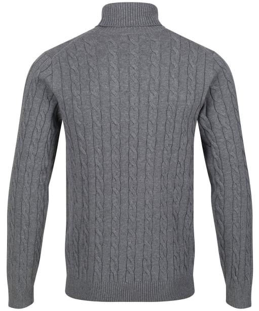 Men's GANT Cotton Cable Turtle-Neck Sweater - Dark Grey Melange