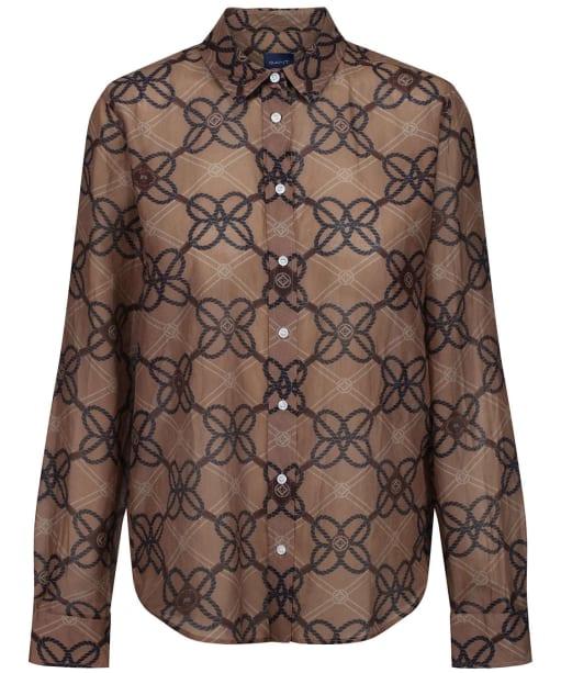 Women's GANT Rope Print Cot Silk Shirt - Warm Khaki
