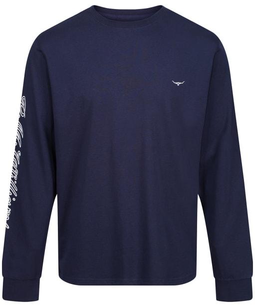 Men's R.M. Williams Signature Long Sleeve T-Shirt - Navy / White